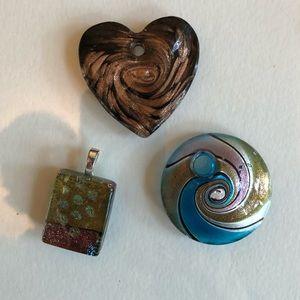 Lot of 3 art glass pendants